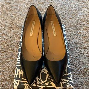 DVF black leather high heels